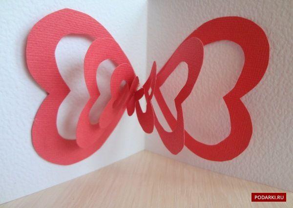 Поп-ап открытка с сердцами | Валентинки своими руками