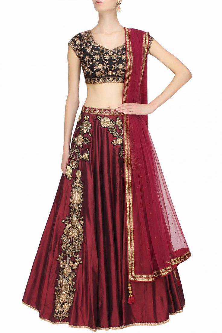 Sanna Mehan - Marsala floral dabka and zardozi embroidered lehenga and black blouse set