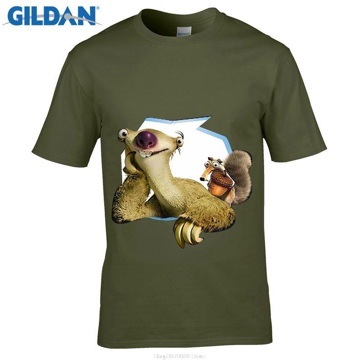GILDAN designer t shirt Fashion Hot Sell 100% Cotton O-Neck Short T-Shirt Men's Ice Age Sid Squirrel Movie Poster Black T shirt #Affiliate