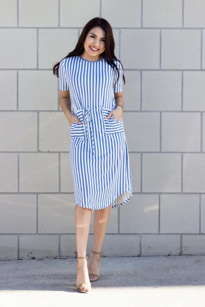 ab20d32cca Jess Striped Midi Dress - In Navy. This Elegant  amp  Feminine Dress comes  In