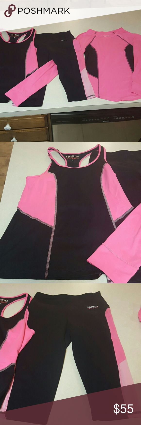 Hollister Trio Matching Women's Sportswear Outfit Awesome set of 3 matching Hollister California wear.  Tank top and long sleeve top size medium.  Size small crop leggings. Hollister Shorts