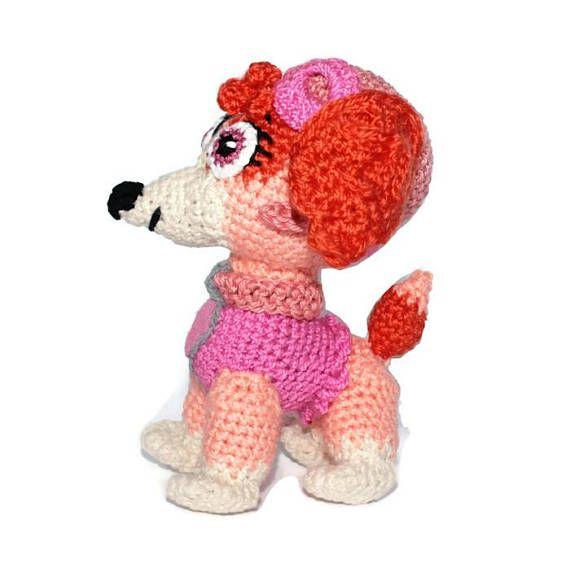Crochet Paw Patrol Skye Puppy dog Crochet puppy Stuffed dog toy Christmas in July Puppy toy Amigurumi Puppy Crochet dog Kids stuffed toy