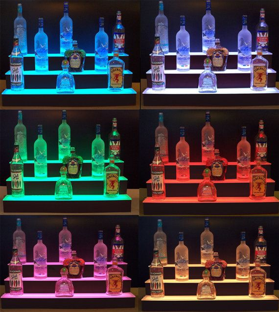 36 Led Lighted 3 Tier Step Back Bar Bottle Shelf By