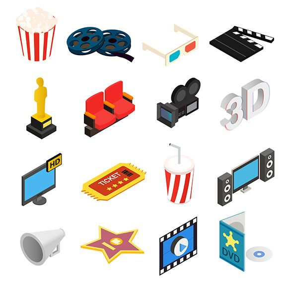 Cinema isometric 3d icons set by Juliars on Creative Market