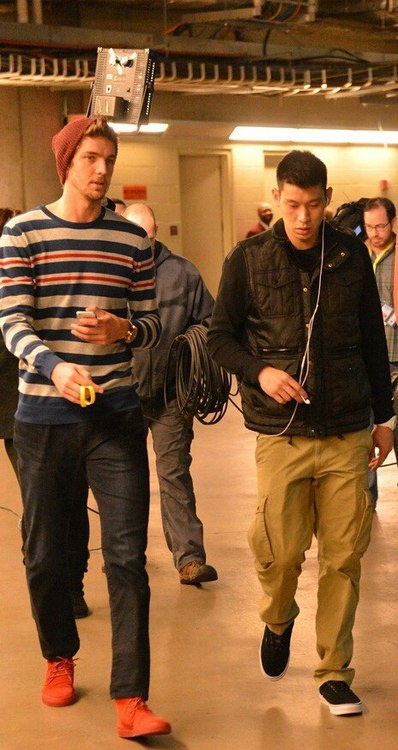 Chandler Parsons and Jeremy Lin arriving on game day. Haha I can quite literally look up to them considering they're like 7 feet tall...
