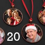 20- Pack Large Copper Photo Christmas Ornament Blanks Decorations w/ Red Ribbon Hangers
