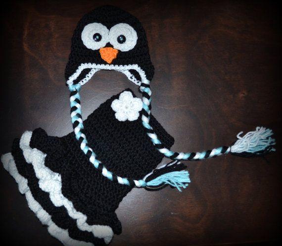 Crochet Penguin Earflap Baby Beanie Hat & Matching Tutu Dress Photo Prop Custom Made Boy Girl Costume $60