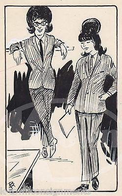 WOMEN'S PANTSUIT FASHIONS ORIGINAL SIGNED NEWSPAPER CARTOON ART INK SKETCH