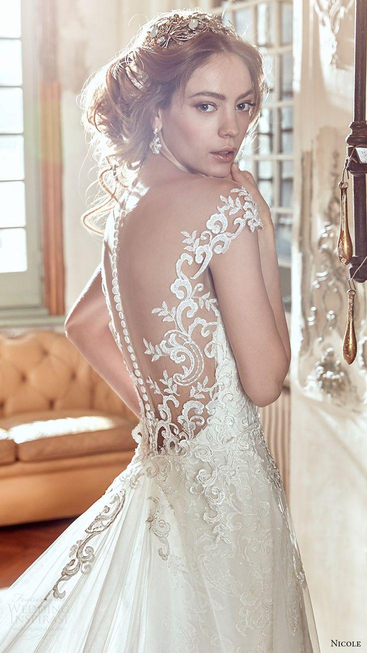 nicole spose bridal 2017 cap sleeve sweetheart neckline aline overskirt wedding dress (niab17053) zbv illusion back