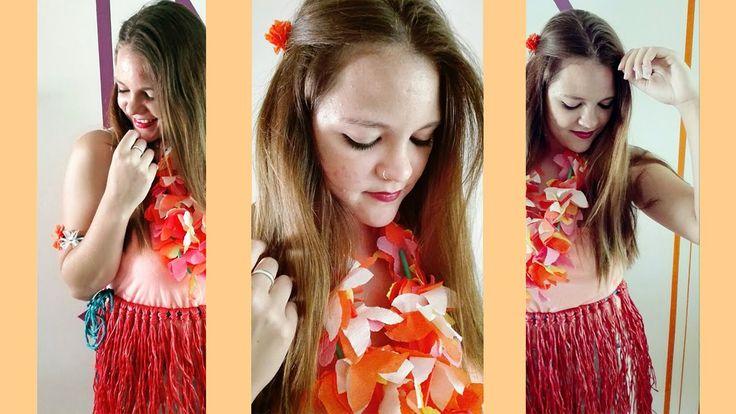 Como hacer disfraz HAWAIANA, Falda y Collar.