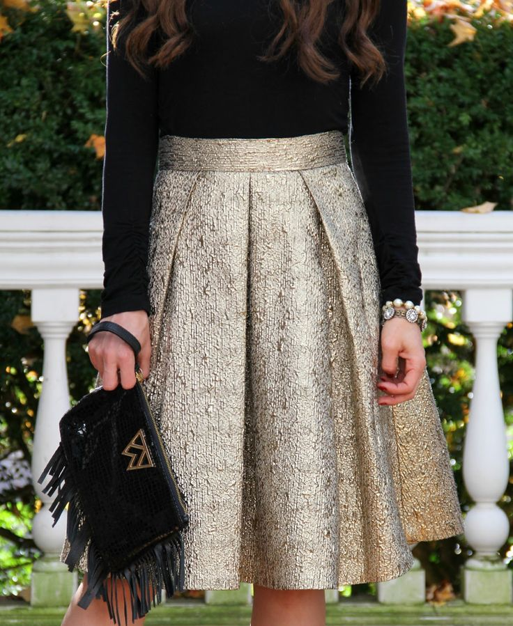 Kiss Me Darling: The perfect Holiday Skirt gold skirt, holiday outfit, fringe clutch, lace up heels, christmas dress