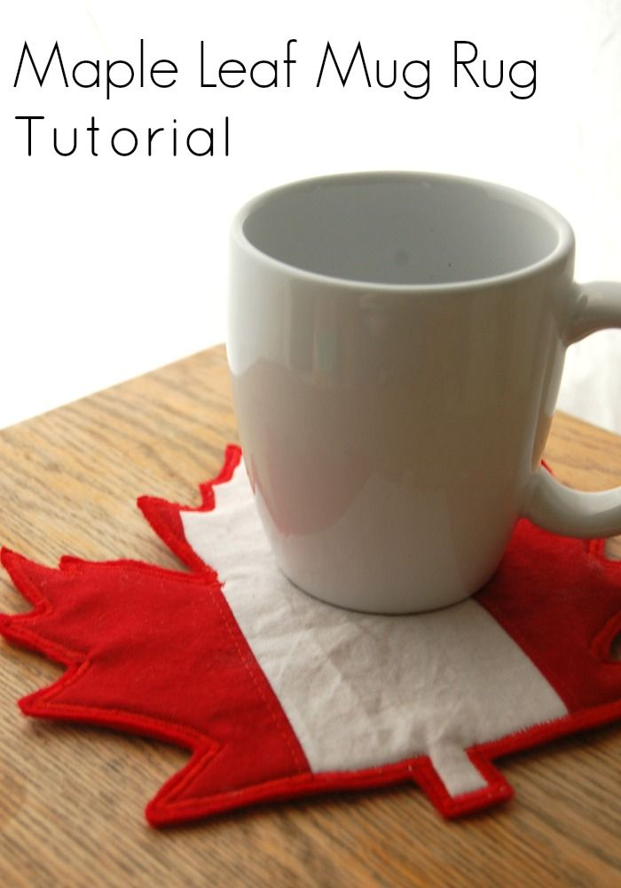 Tutorial: Maple leaf mug rug for Canada Day  how to make this maple leaf mug rug for Canada Day.  It's a large maple leaf pieced with red and white stripes. You could also make it from solids in fall hues for an autumn leaf mug rug.