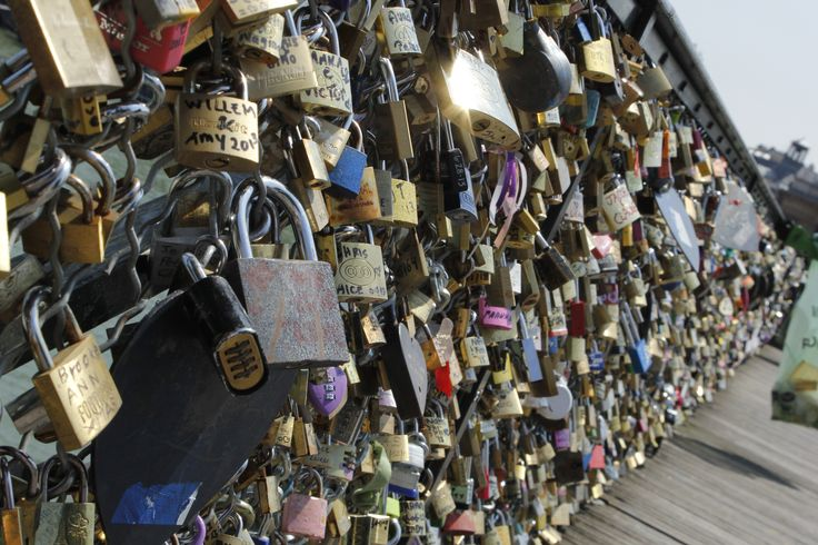 """Paris, France...famous """"lovers locks"""" along a bridge, announce their devotion to one another then throw the key away! Been too!"""