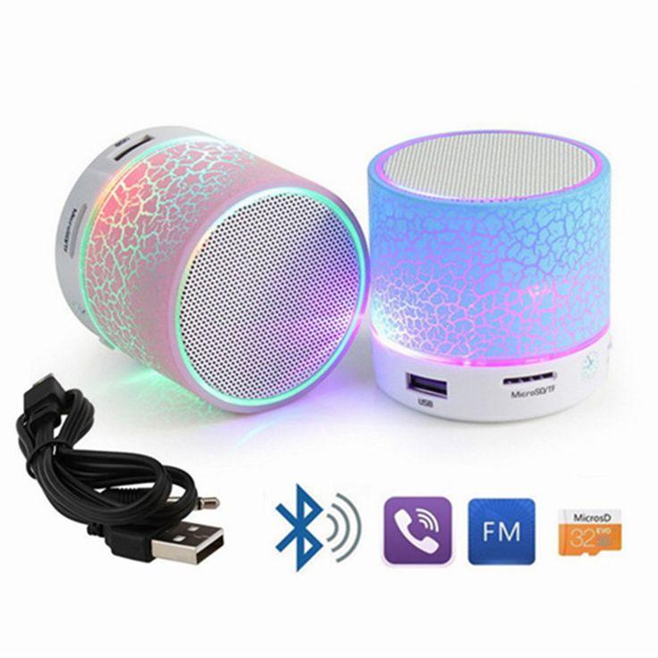 ポータブルミニ点滅led bluetoothスピーカーa9無線小さな音楽オーディオtf usb fmステレオサウンドスピーカー用電話でマイク
