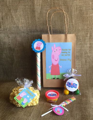 Peppa Pig Party Favors and Bags - Personalized - Goodie Bag Bundle - Birthday Party - PlayDoh Popcorn Lollipop Marshmallow Twist Bubble Gum