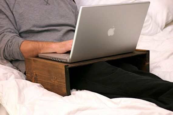 Rustic Wood Tablet or Laptop Table 6.5 inches tall - Holds your tablet or laptop on your lap on Etsy, $39.95