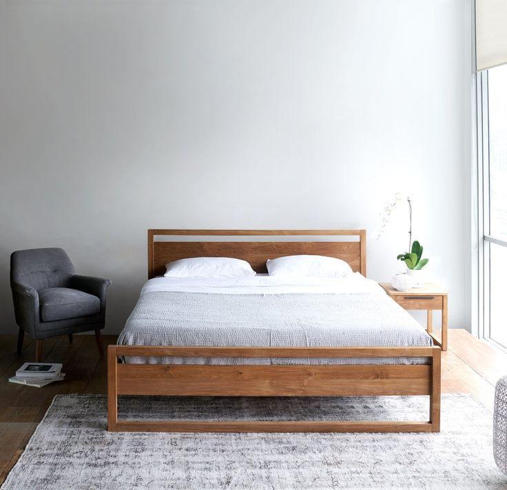 Light Frame Teak Bed Frame Contemporary Bed Frame Modular Bed