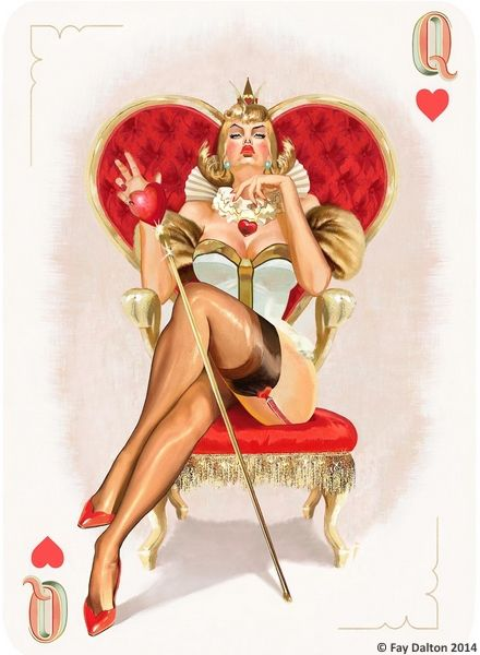 Pin-Up Playing Cards by Fay Dalton: The Queen of Hearts | more here: http://playingcardcollector.net/2015/03/06/pin-up-playing-cards-by-fay-dalton/