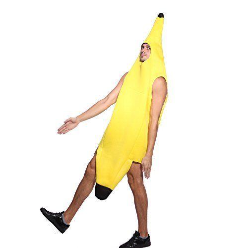 Sexy Herren Männer Bananenkostüm Banane Kostüm Bananenanzug FANCY DRESS Frucht Anzug Karneval Fasching Cosplay Unisex
