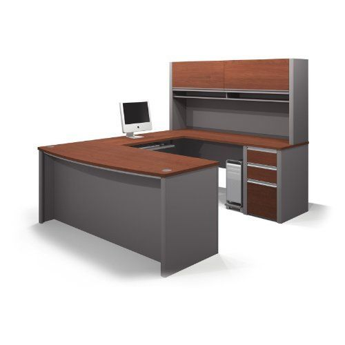 """Bestar Connexion U-Shaped Workstation Kit in Bordeaux Slate Finish by bestar. $1023.99. Bordeaux & Slate. Connexion is a contemporary and durable collection that features a wide variety of configuration options that will adapt to your specific needs. The worksurface is made of a durable 1"""" commercial grade work surface with melamine finish that resist scratch"""