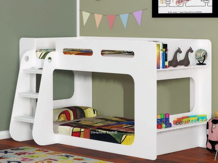 White Shorty Modern Bunk Beds With Shelf