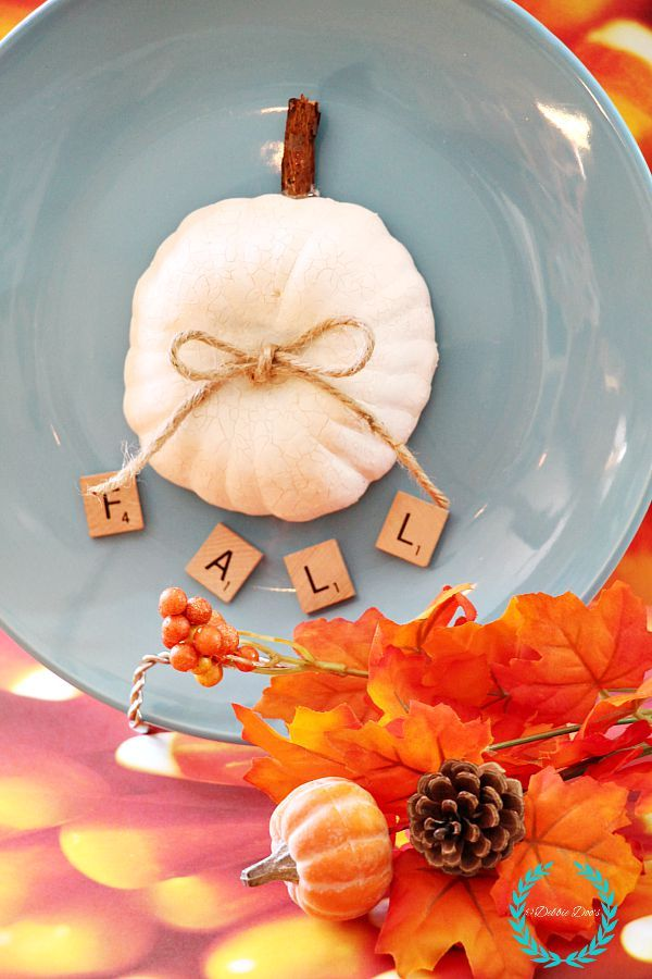 Fall dollar tree pumpkin plate and other dollar tree fall ideas.