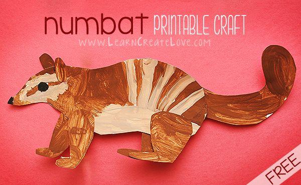 N is for Numbat Printable Craft