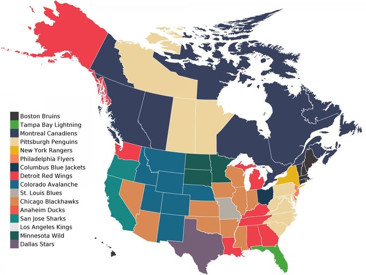 A Map That Shows The State Territory Or Provinces Favorite Sports Team In The