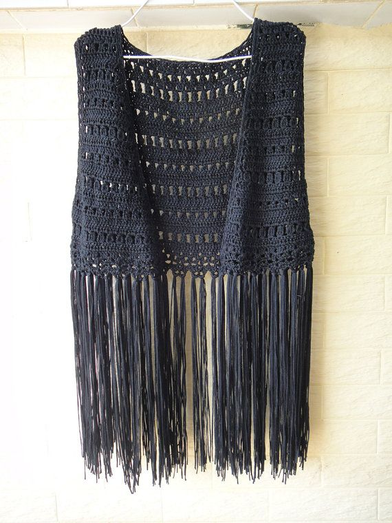 Black Handmade Crochet Fringe Festival Jacket Top Hippie Clothing Fringe Vest
