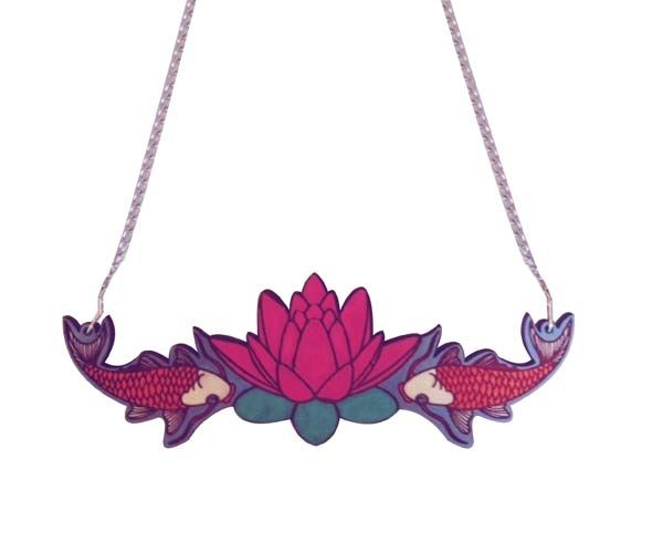 #lotus & #Koi #necklace, by Love Ikandi, a Queensland based business. All jewellery is designed and made in Australia