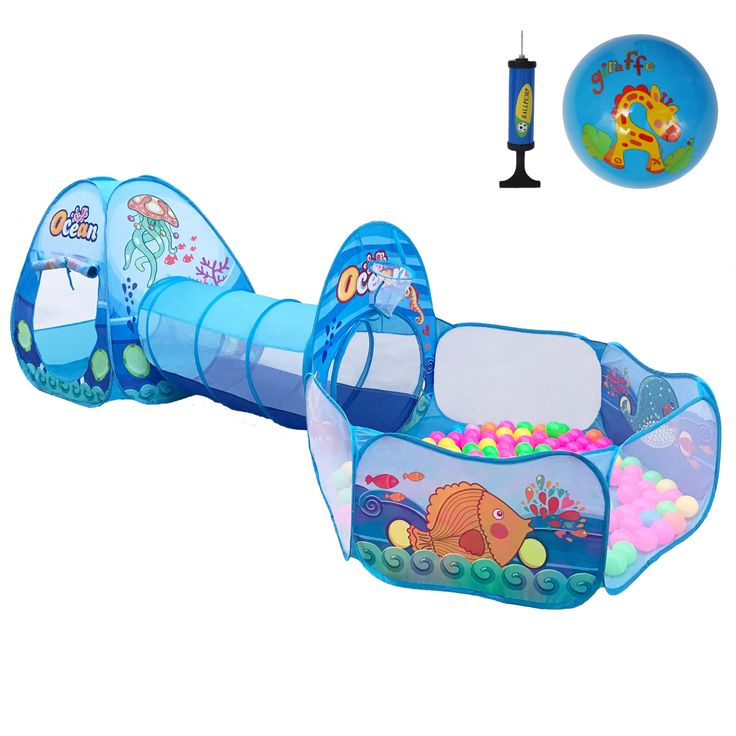 Newest Ocean Theme 3Pcs Kids Play Tent with Tunnel Ball Pits Indoor and Outdoor Children Playhouse for Toddlers, Babies Include Inflatable Toy Ball (Ocean Balls Not Included ). >3 in 1 tent can accommodate more children to play. accompanied by father and mother free combination play .This adorable play tent and kids Inflatable toy ball (Ocean Balls Not Included) is a perfect gift for all kids! children can have their own space which is big enough for themselves. kids can enjoy hours of…