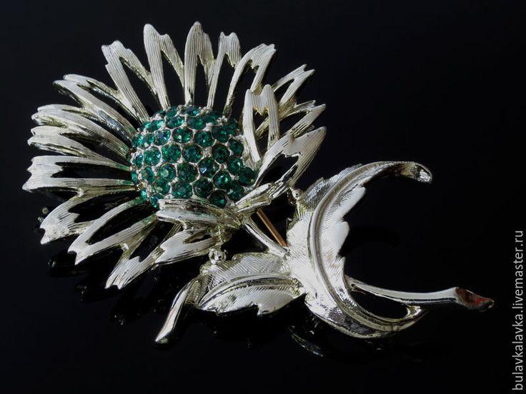 Купить CHAREL Green Rhinestone Flower Винтажная брошь - серебряный, винтажные украшения, винтажные броши