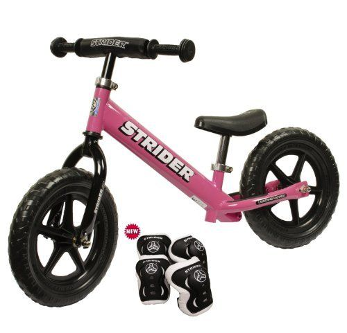 STRIDER No Pedal Balance Bike with Knee and Elbow Pads (Pink) by Strider. $99.00. Building on the worldwide success of the original STRIDER, the new 2012 STRIDER ST-3 Balance Bike takes Toddler bike fit & performance to a whole new level!  * Functional for Toddlers on Two Wheels.  When it comes to Toddler bike riding success, WEIGHT and FIT are CRITICAL.  * Custom STRIDER Ultralight One-Piece Molded Wheel.  Strong, light, one piece design with proven no-flat EV...