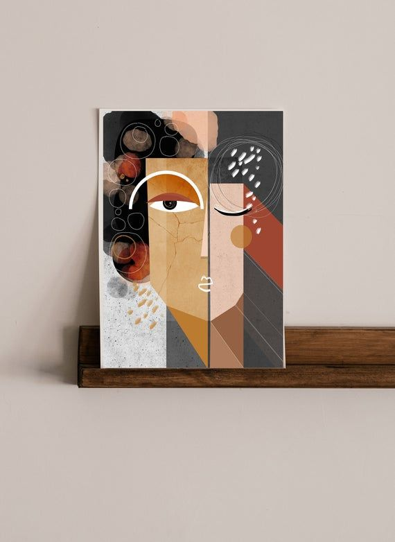 Earthen: earth colored, mixed media, mid century modern inspired art print.  Vibrant and bold, this art print is a mixed media melange of lines, curves, color and a play of bold abstract faces. A balance of positive and negative spaces enhances the mood of this neutral, earth toned abstract art