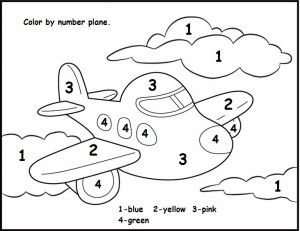 color by number plane worksheet Crafts and Worksheets