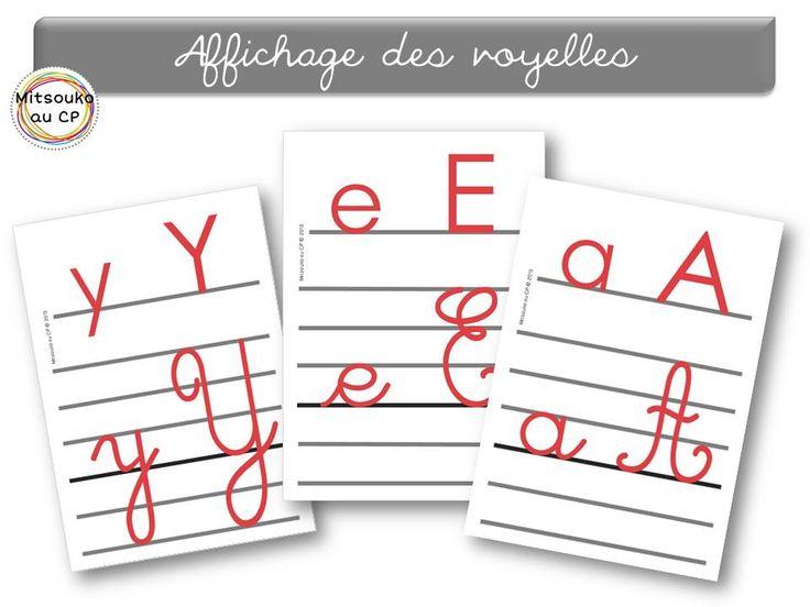 Tout l'affichage de l'alphabet script/cursif, minuscule/majuscule, avec les lignes repères, et le marquage des voyelles.