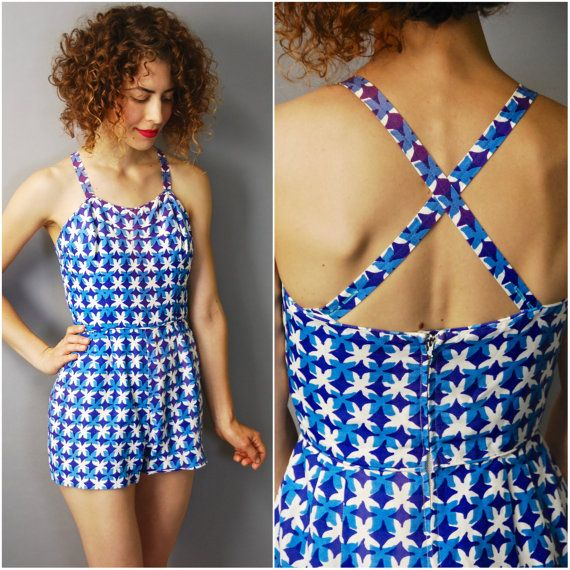 1950's Blue and White Mosaic Playsuit  small by CapsuleVintage