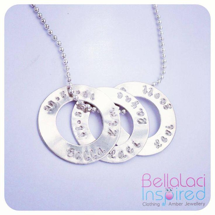 BellaLaci Sterling Silver Handstamped Love Circles necklace.