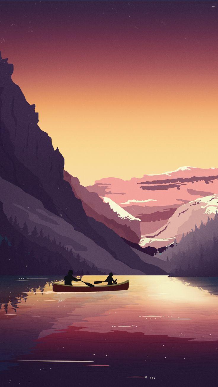 Zwei Personen auf einem Boot an einem See, umgeben von Bergen und Sonnenuntergang Illustration Kunst #digitalart #vectorart