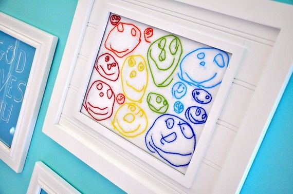 stitch over your child's artwork. I cannot sew or stitch to save my life so I would love to send mine to this etsy shop!