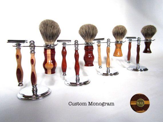Monogrammed Shaving Kit - Shaving Brush, Safety Razor, Shaving Stand