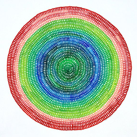Crotchet Web Mandala No. 81 (43cm diameter circle) Original contemporary watercolour painting by Chelsea Hopkins-Allan. Etsy shop : 26Seeds www.ChelseaHopkins-Allan.com