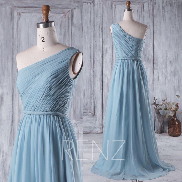 2016 Dusty Blue Bridesmaid Dress, Long Chiffon Wedding Dress, One Shoulder Prom Dress, Evening Dress, Party Dress Floor Length (H218) by RenzRags on Etsy https://www.etsy.com/listing/384874776/2016-dusty-blue-bridesmaid-dress-long