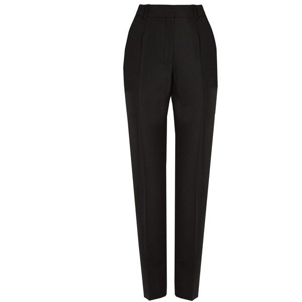 Balenciaga Cigarette-leg wool trousers (€480) ❤ liked on Polyvore featuring pants, balenciaga, black, high rise pants, high-waisted trousers, high waisted cigarette pants and high waisted tapered trousers