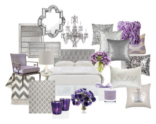 """""""Lavender and Grey Bedroom"""" by chloeg01 ❤ liked on Polyvore featuring interior, interiors, interior design, home, home decor, interior decorating, Jonathan Adler, Waterford, Mirror Image Home and ELIZABETH HURLEY beach"""