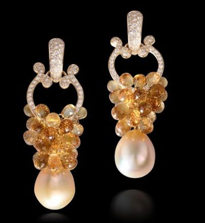 Farah Khan - Earrings with Citrine briolettes and diamonds and south sea pearls set in 18k yellow gold.