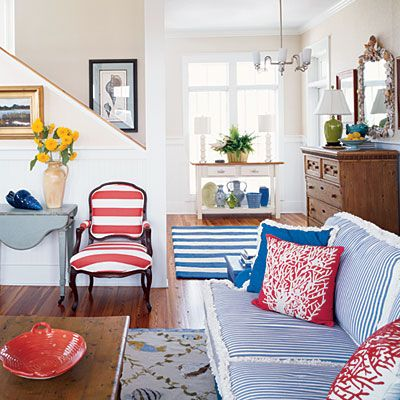 Mix and match stripes in different colors and sizes for a twist on traditional nautical style: Interior, Chair, Beach House, Living Rooms, Idea, Color, Red White Blue, Livingroom, Coastal Living