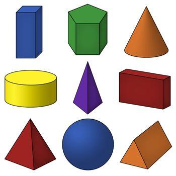 3D Shapes Clip Art | Geometric Solids | 4th Art Lessons ...