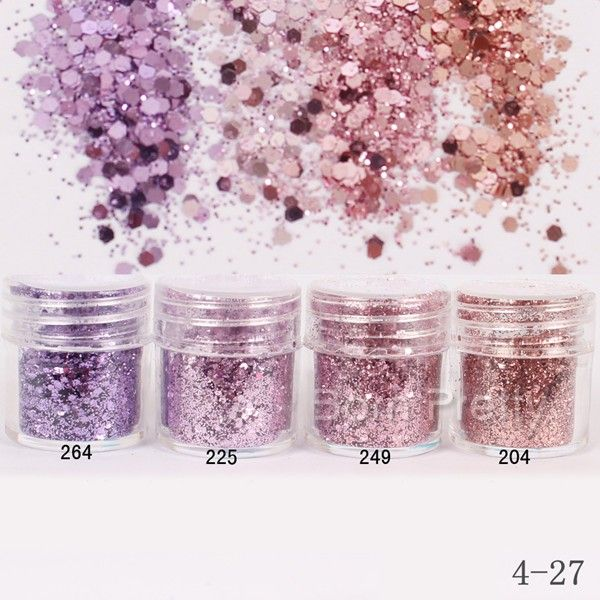 $1.96 1Box 10ml Pink Purple Glitter Powder Hexagon Shape Powder Sheets Tips Nail Art Decoration - BornPrettyStore.com