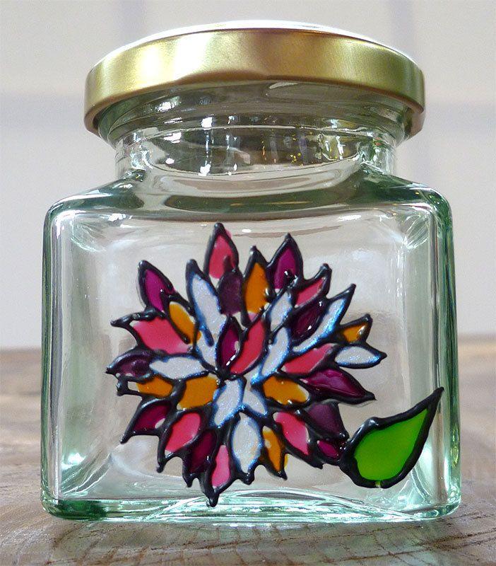 Designer Hand Painted Glass Pink Chrysanthemum Jar by HandPaintedJar on Etsy